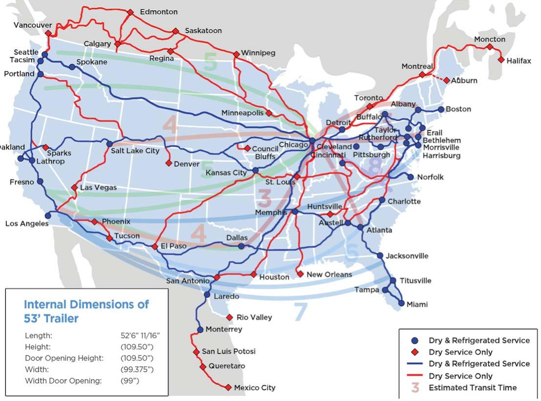 Intermodal Shipping England Logistics - Intermodal map us