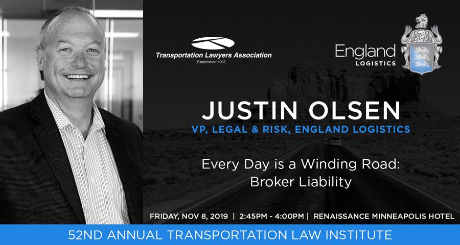 justin olsen speaker transportation lawyers association law institute