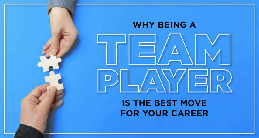 two men exchanging puzzle piece with text why being a team player is the best move for your career