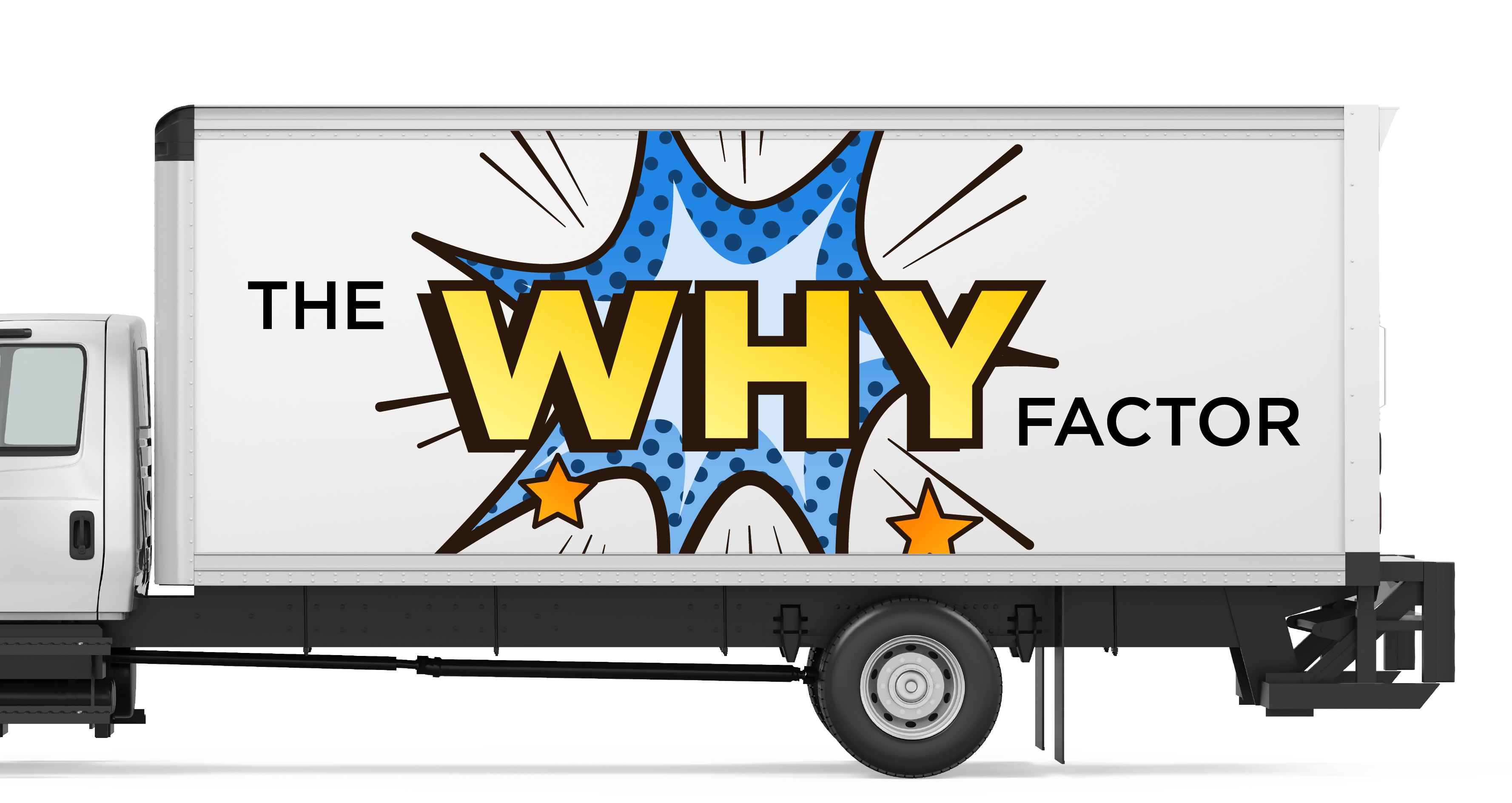 truck facing to the side with the why factor on trailer